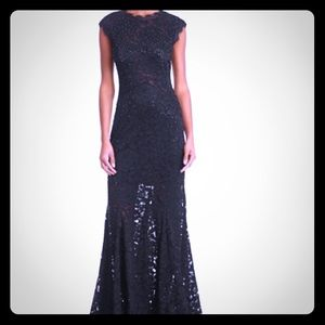Aqua Embellished Lace Gown